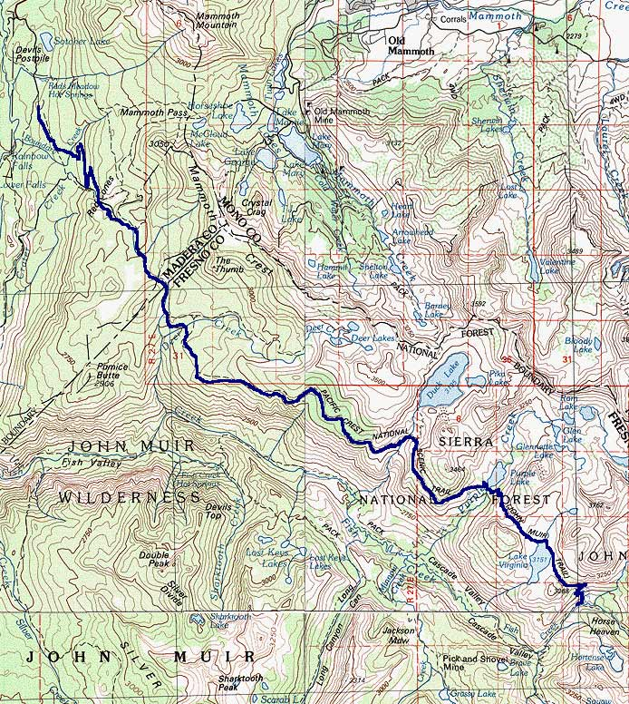 John Muir Trail 2000 and Beyond  Map Closeup Reds Meadow to