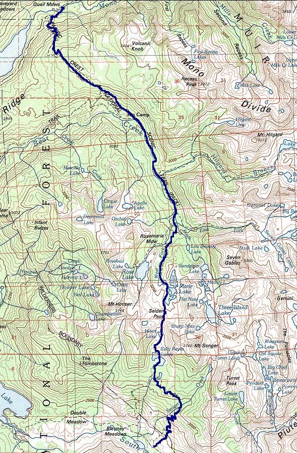 John Muir Trail 2000 and Beyond  Map Closeup Mono Creek to