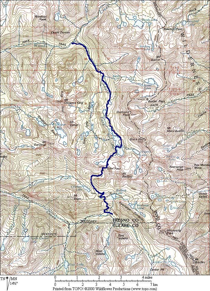 john muir trail 2000 and beyond map closeup woods creek